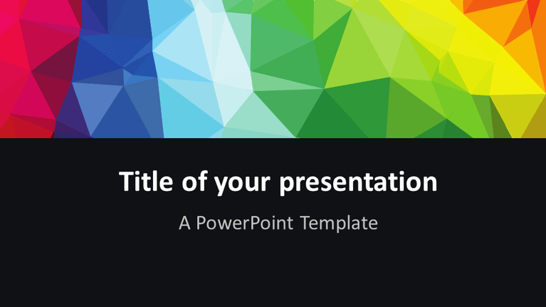 Free Modern colorful polygons PowerPoint template - Widescreen