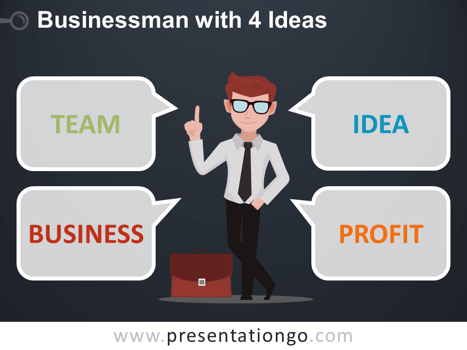 Businessman with 4 ideas - Free PowerPoint Template - Dark Background