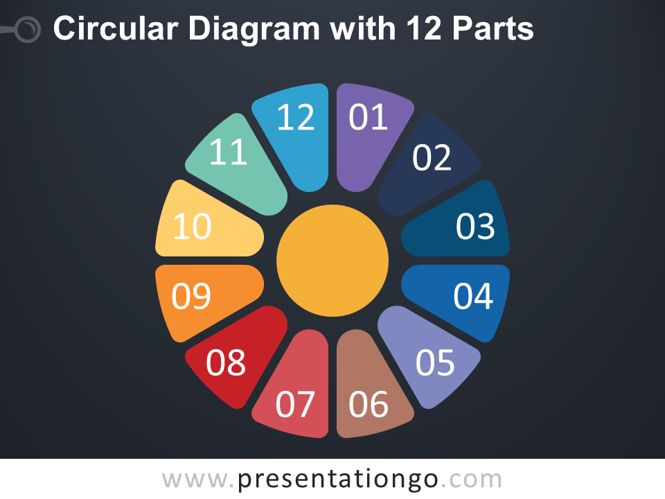 Free Circular Diagram with 12 Parts for PowerPoint - Dark Background