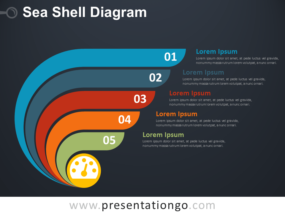 Free Sea Shell Diagram for PowerPoint - Dark Background