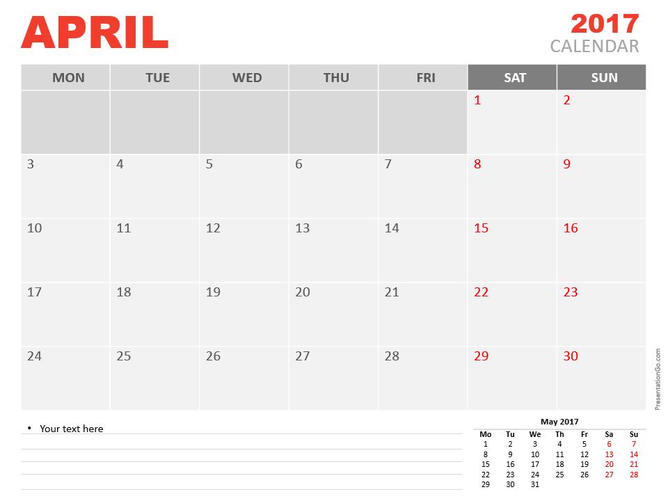 Free April 2017 PowerPoint Calendar Start Monday