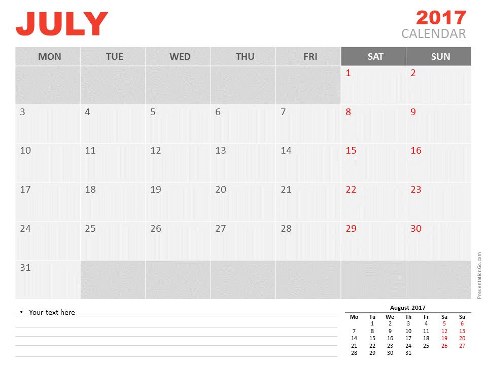 Free July 2017 PowerPoint Calendar Start Monday