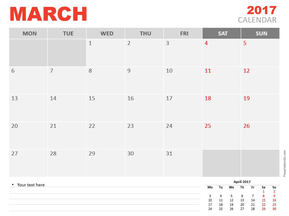Free March 2017 PowerPoint Calendar Start Monday