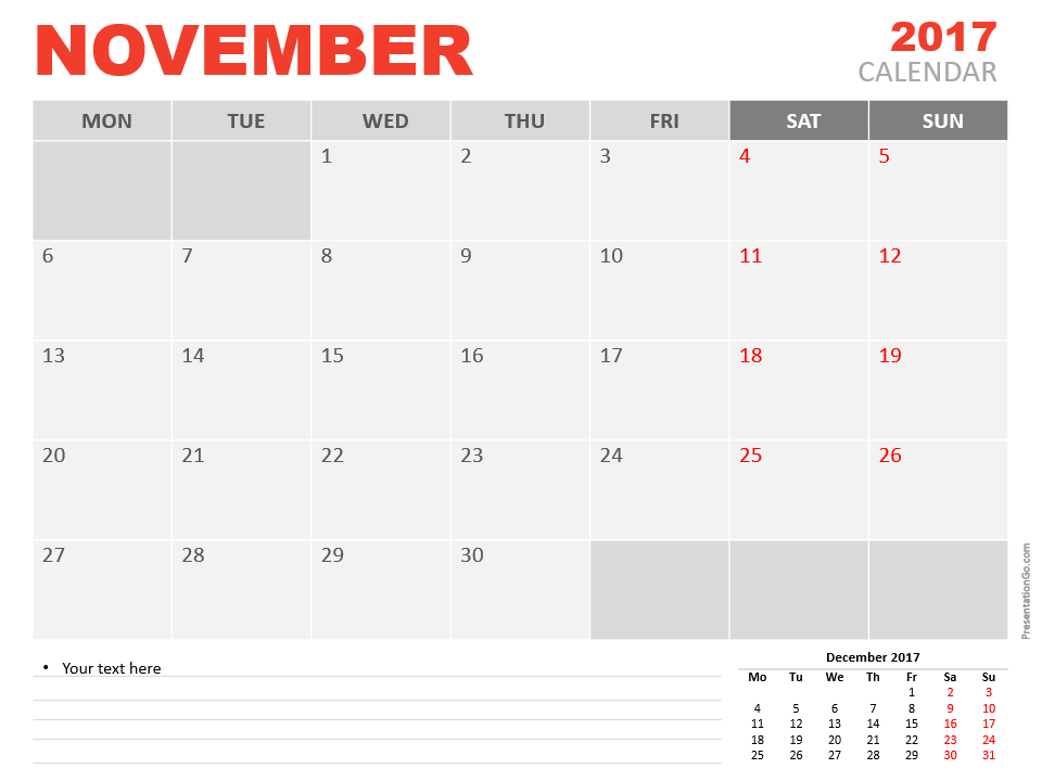Free November 2017 PowerPoint Calendar Start Monday