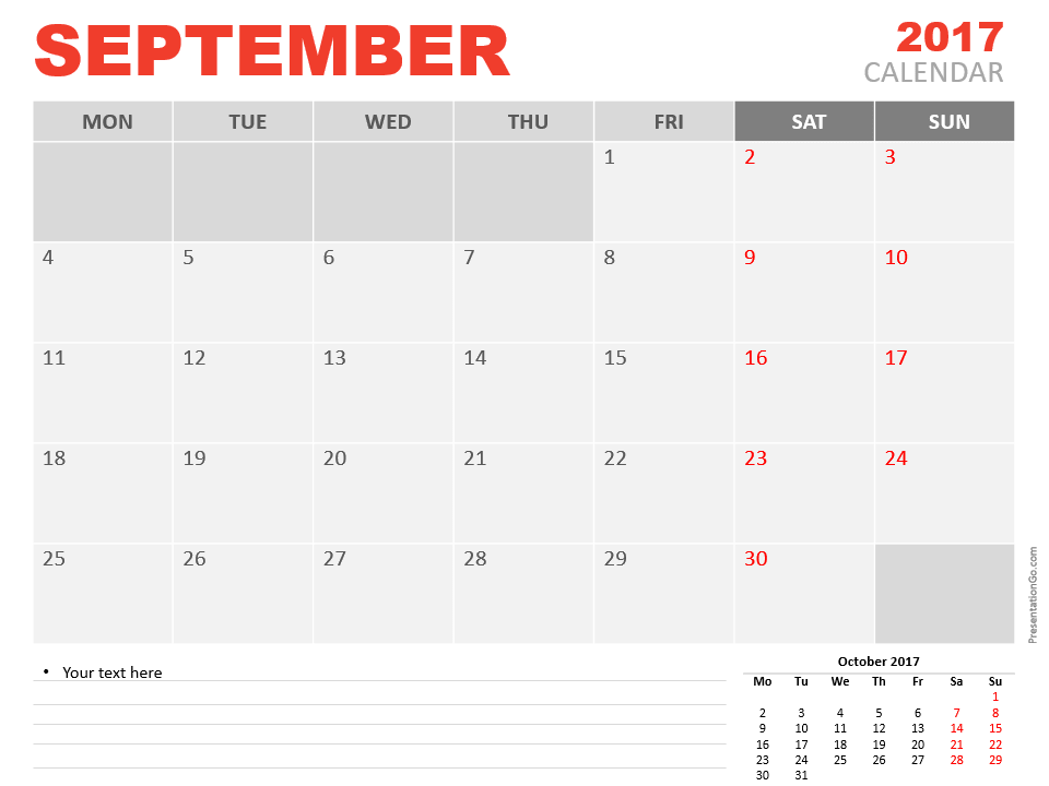 Free September 2017 PowerPoint Calendar Start Monday
