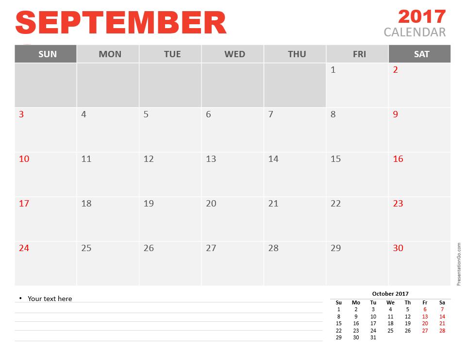 Free September 2017 PowerPoint Calendar Start Sunday