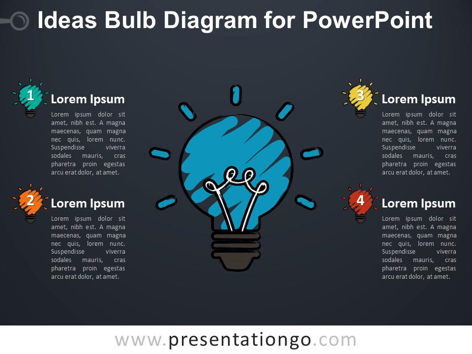 Ideas Bulb Diagram for PowerPoint - Dark