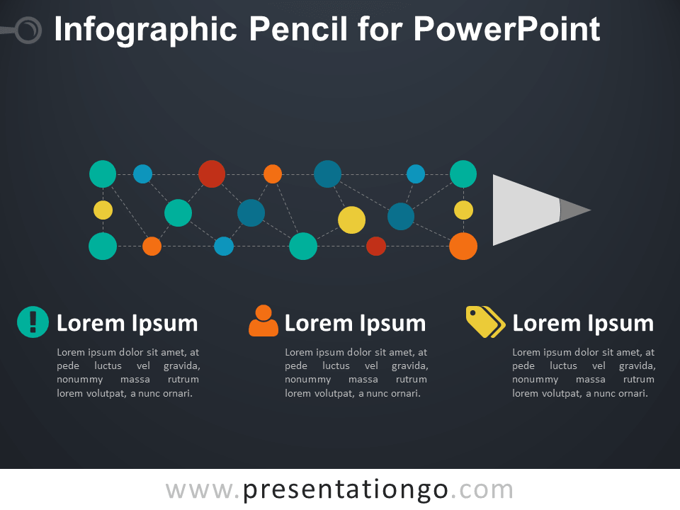 Infographic Pencil Diagram for PowerPoint - Dark Background