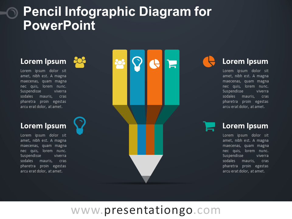 Infographic Pencil Diagram for PowerPoint1 - Dark Background