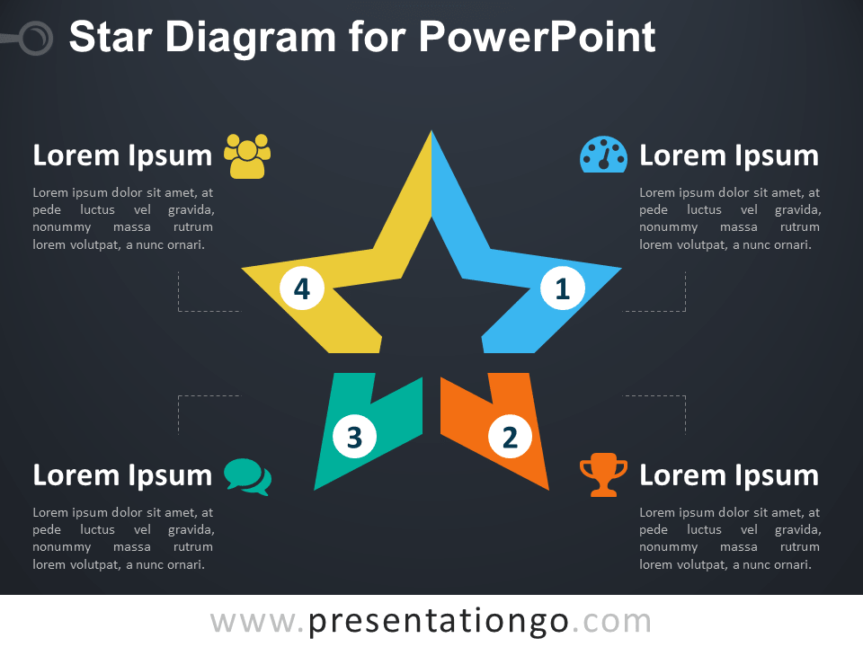 Free Star Diagram for PowerPoint - Dark Background