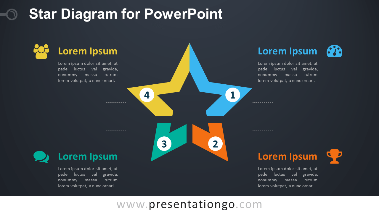 Star Diagram PowerPoint Template - Dark Background
