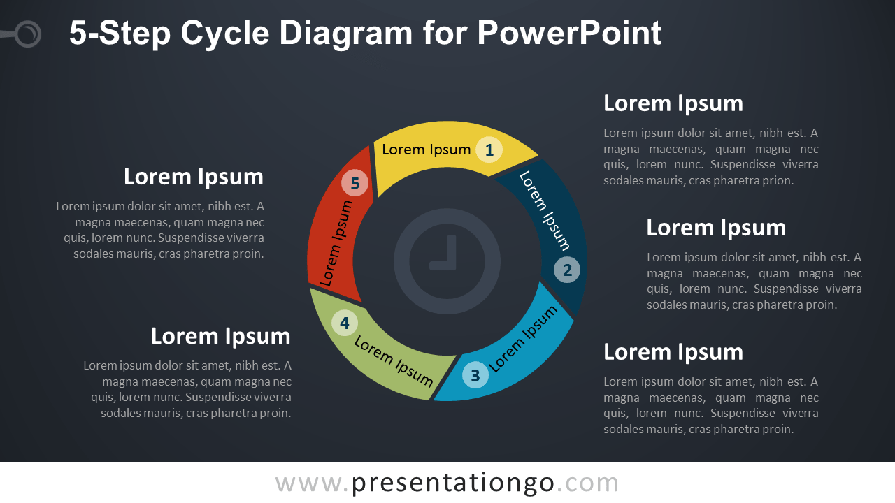5-Level Cycle Diagram for PowerPoint - Dark Background