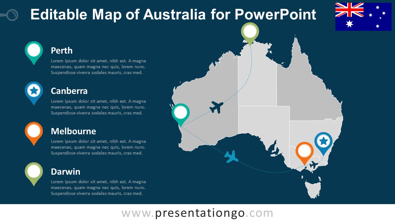 australia editable powerpoint map presentationgocom