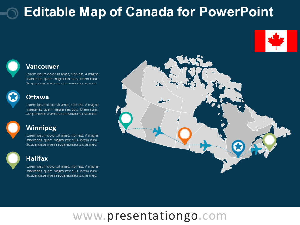 Free Map of Canada for PowerPoint - Dark Background