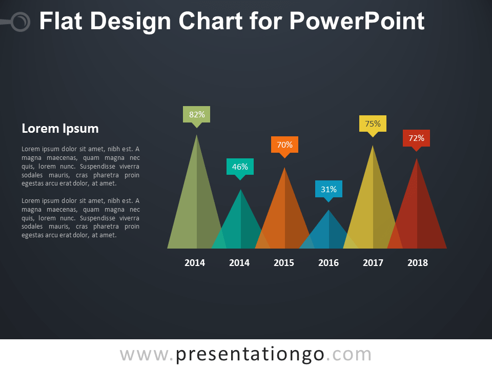 Free Flat Design Chart for PowerPoint - Dark Background
