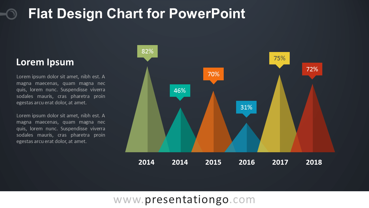 Flat Design Triangle Chart for PowerPoint - Dark Background