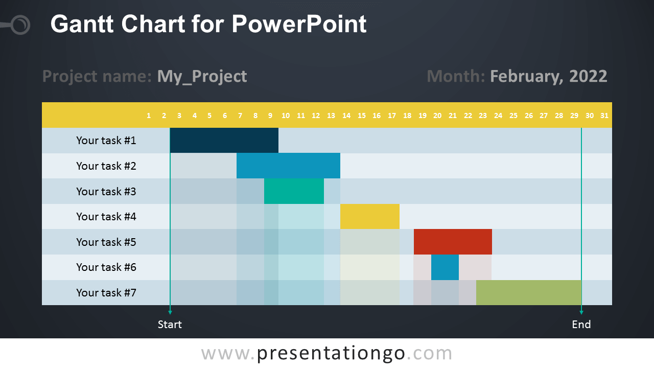 Free Gantt Chart - PowerPoint Diagram - Dark Background