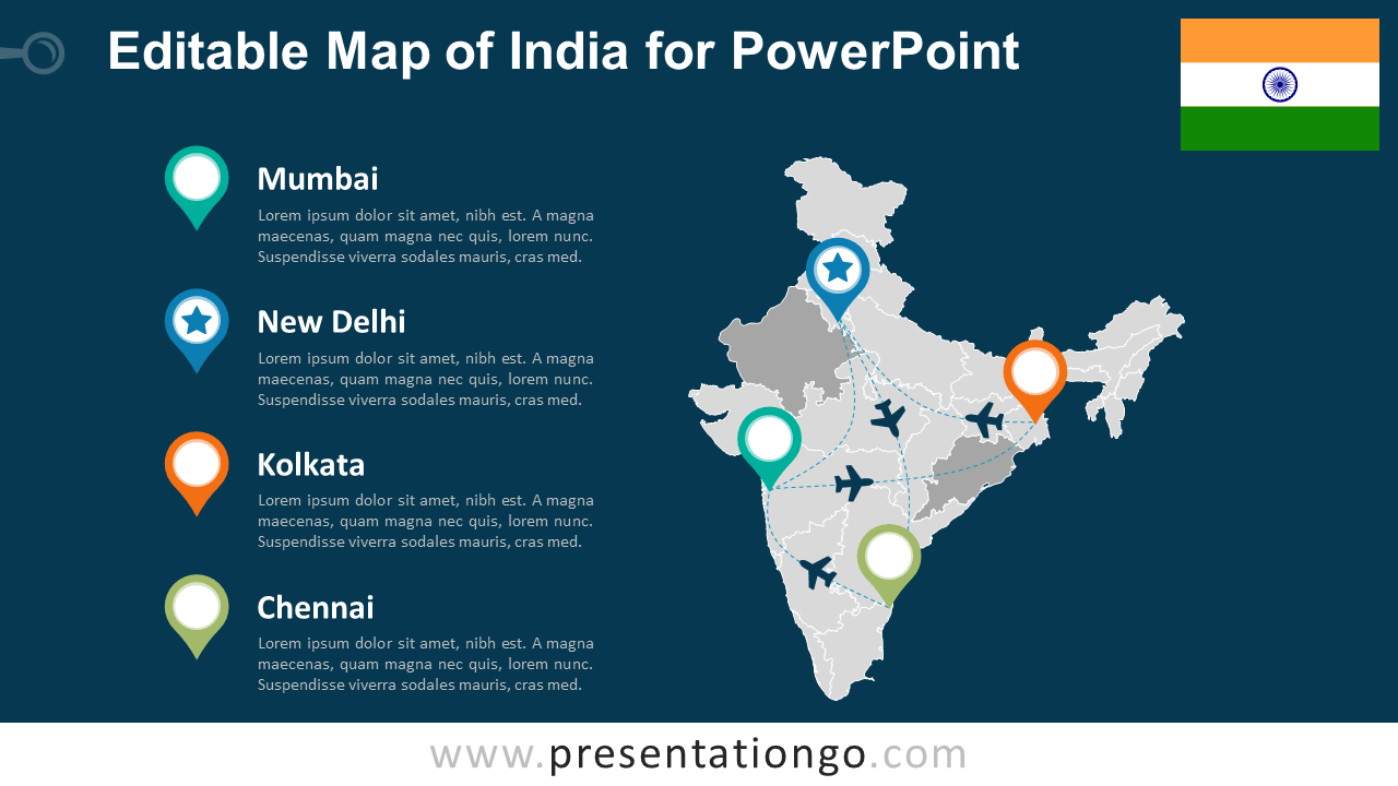 Free PowerPoint Map of India with States and Territories - Dark Background