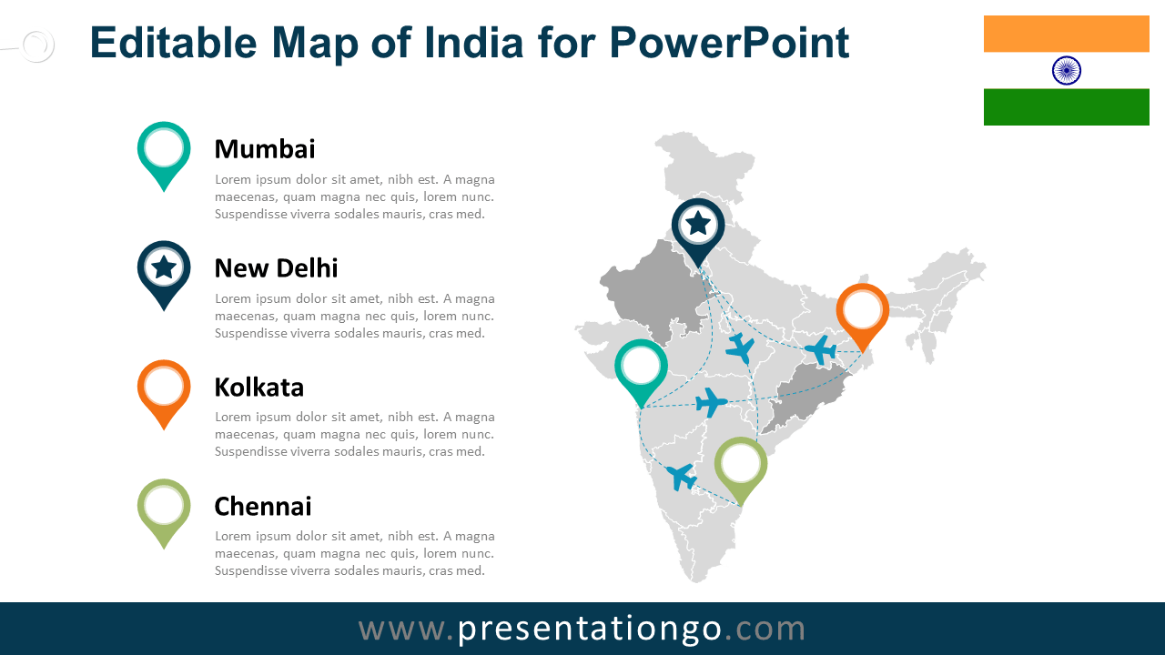 Free PowerPoint Map of India with States and Territories