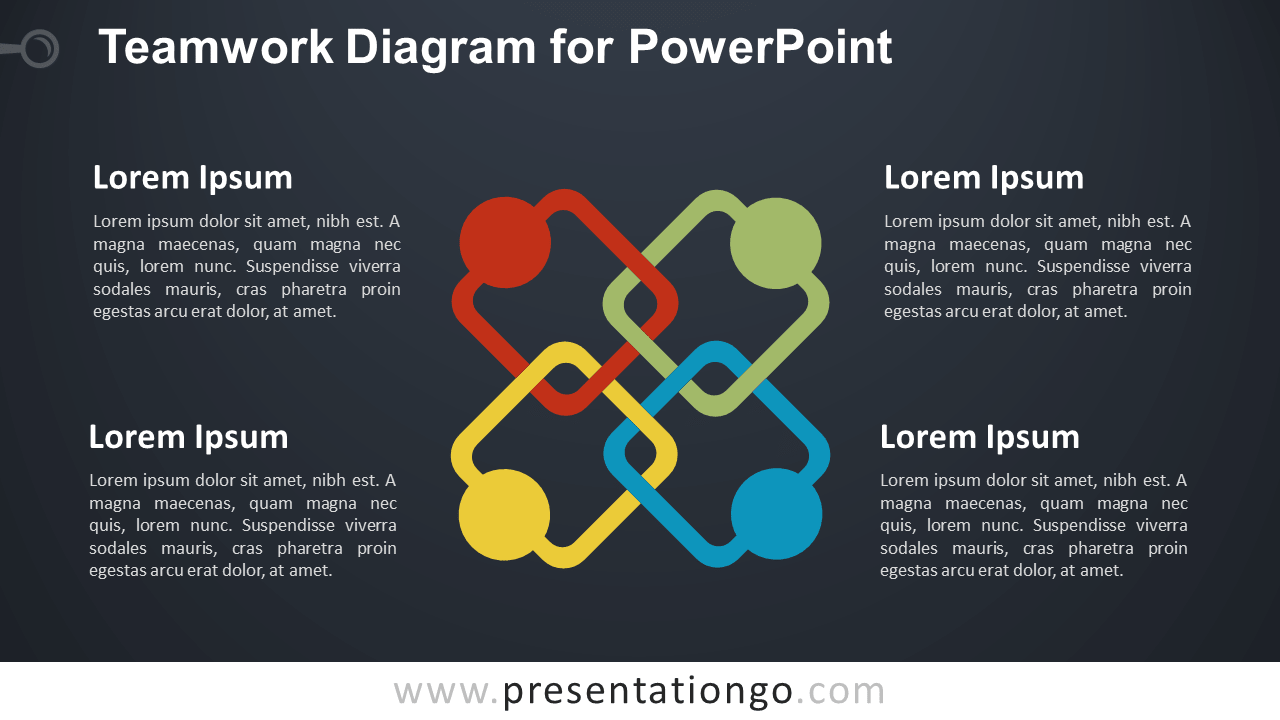 Free Teamwork Analogy for PowerPoint - Dark Background