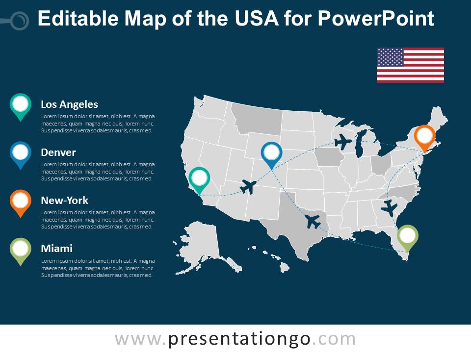 Free USA PowerPoint Map - Dark Background