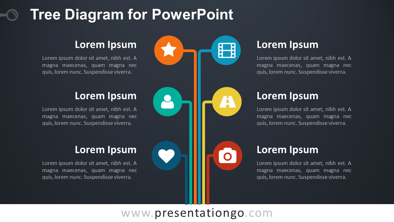 Vertical Colored Tree Diagram for PowerPoint - Dark Background