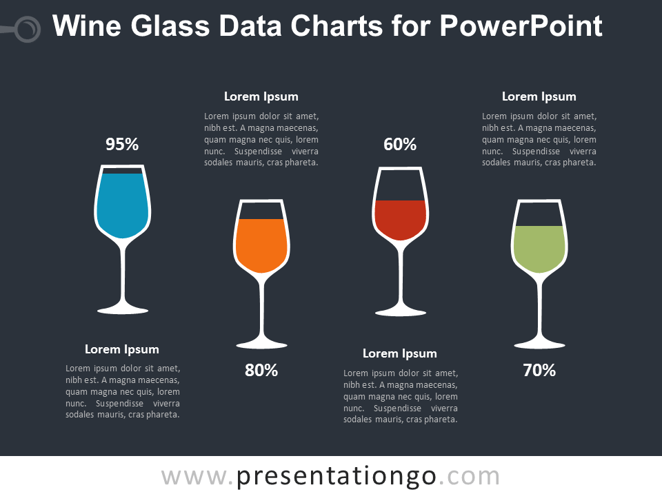 Wine Glass Charts for PowerPoint - Dark Background