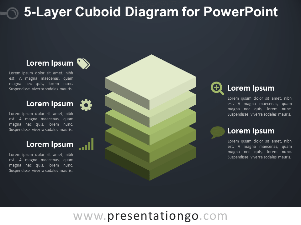 5-Layer Cuboid Diagram for PowerPoint - Dark Background