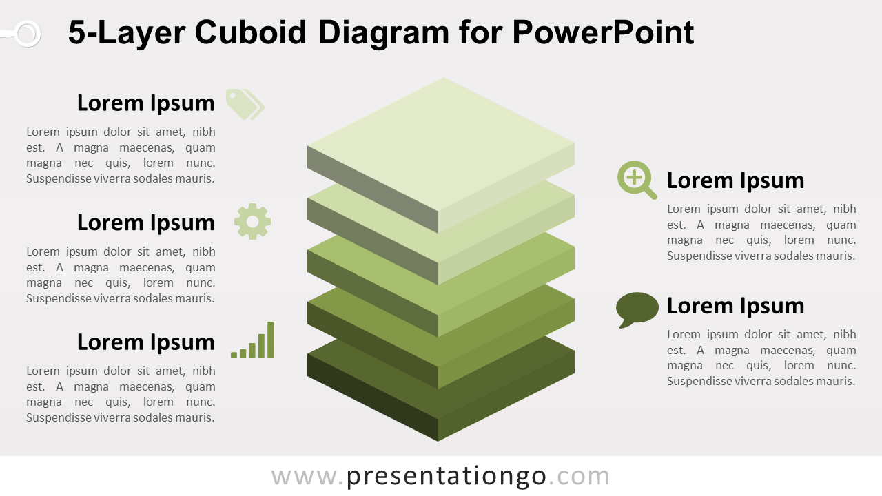 5-Layer Diagram for PowerPoint - 5 Stacked 3D Cubes