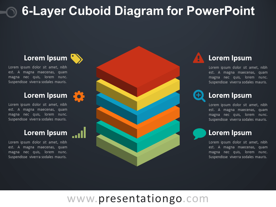 6-Layer Cuboid Diagram for PowerPoint - Dark Background