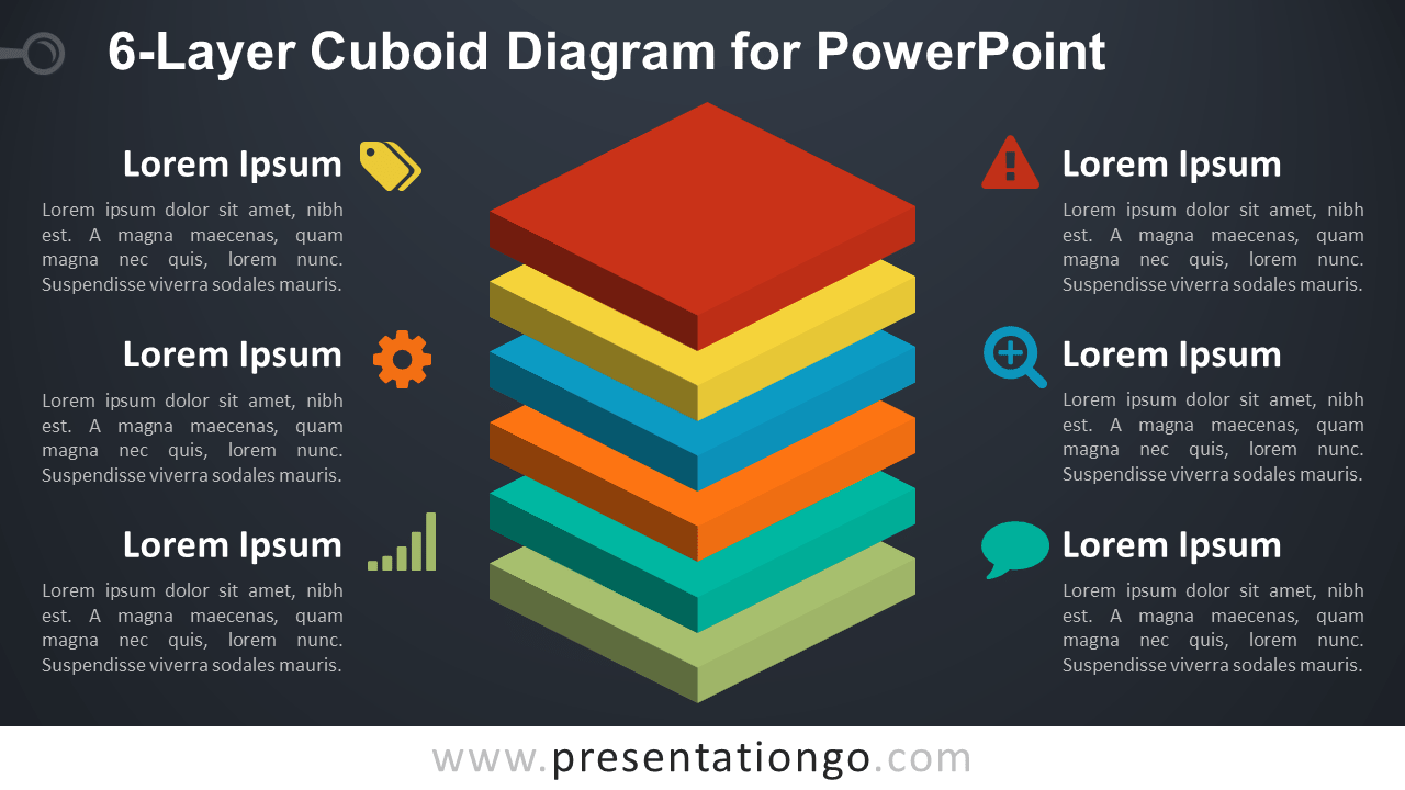 6-Layer Diagram for PowerPoint - 6 Stacked 3D Colored Cubes - Dark Background