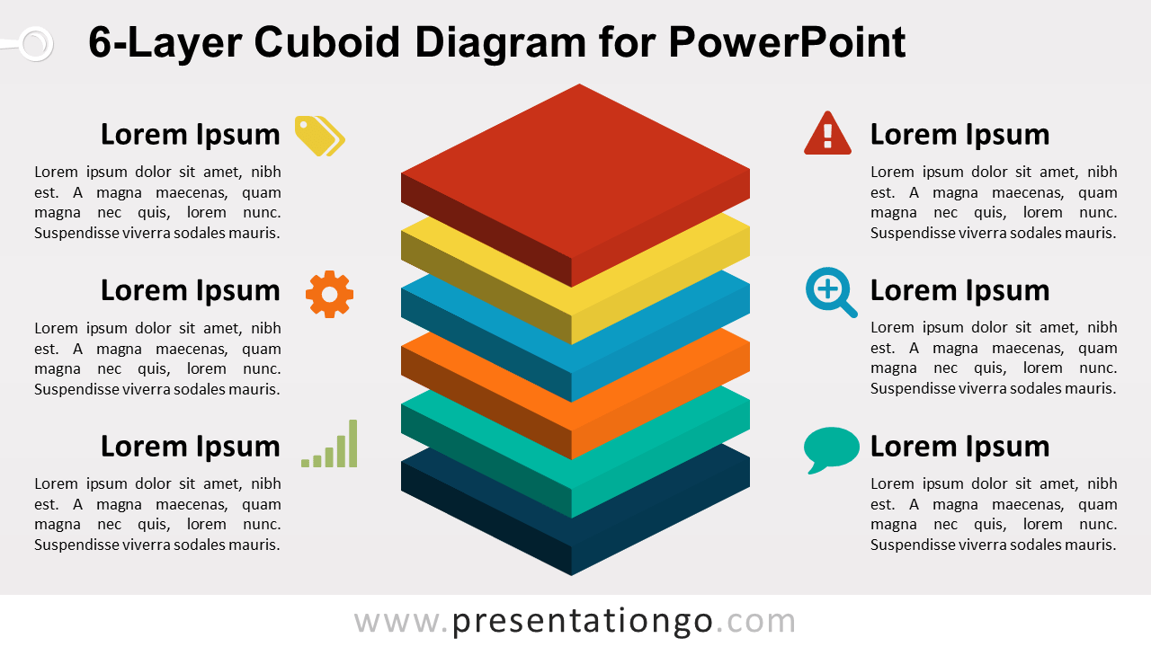 6-Layer Diagram for PowerPoint - 6 Stacked 3D Colored Cubes