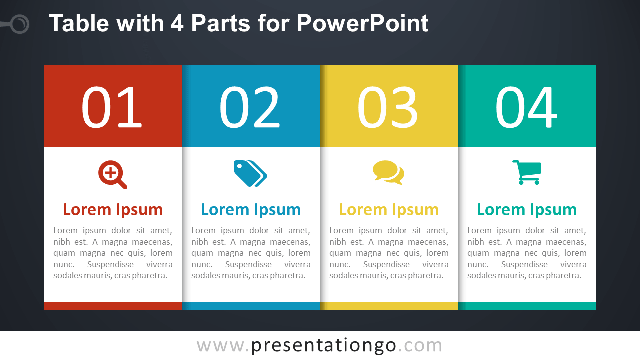 Free 4-Part Table Diagram for PowerPoint - Dark
