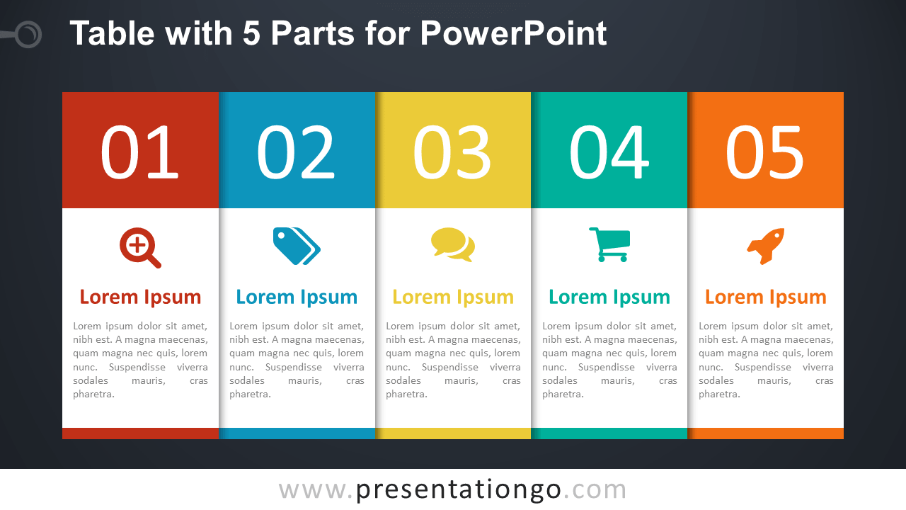 Free 5-Part Table Diagram for PowerPoint - Dark