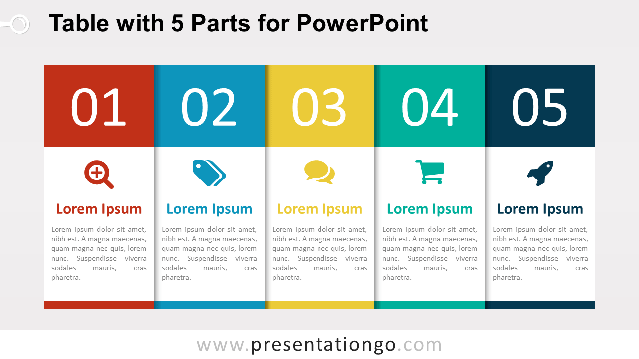 Free 5-Part Table Diagram for PowerPoint