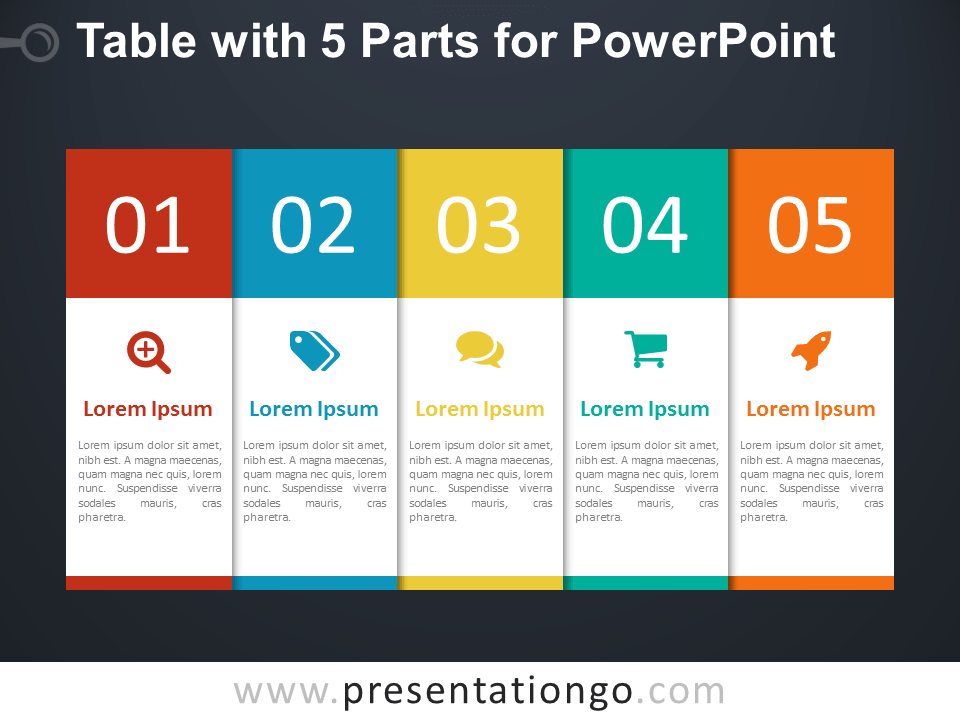 Free 5-Part Table for PowerPoint - Dark