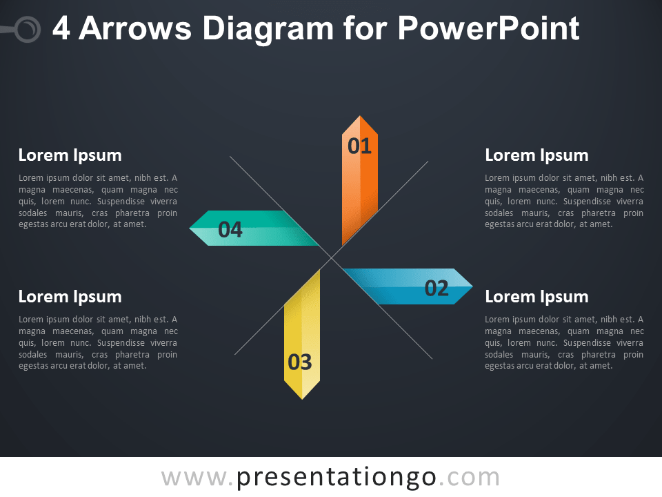 4 Arrows Diagram for PowerPoint - Dark Background