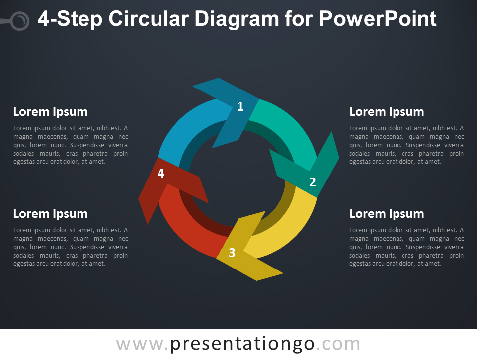 4-Step Circular Diagram for PowerPoint - Dark Background