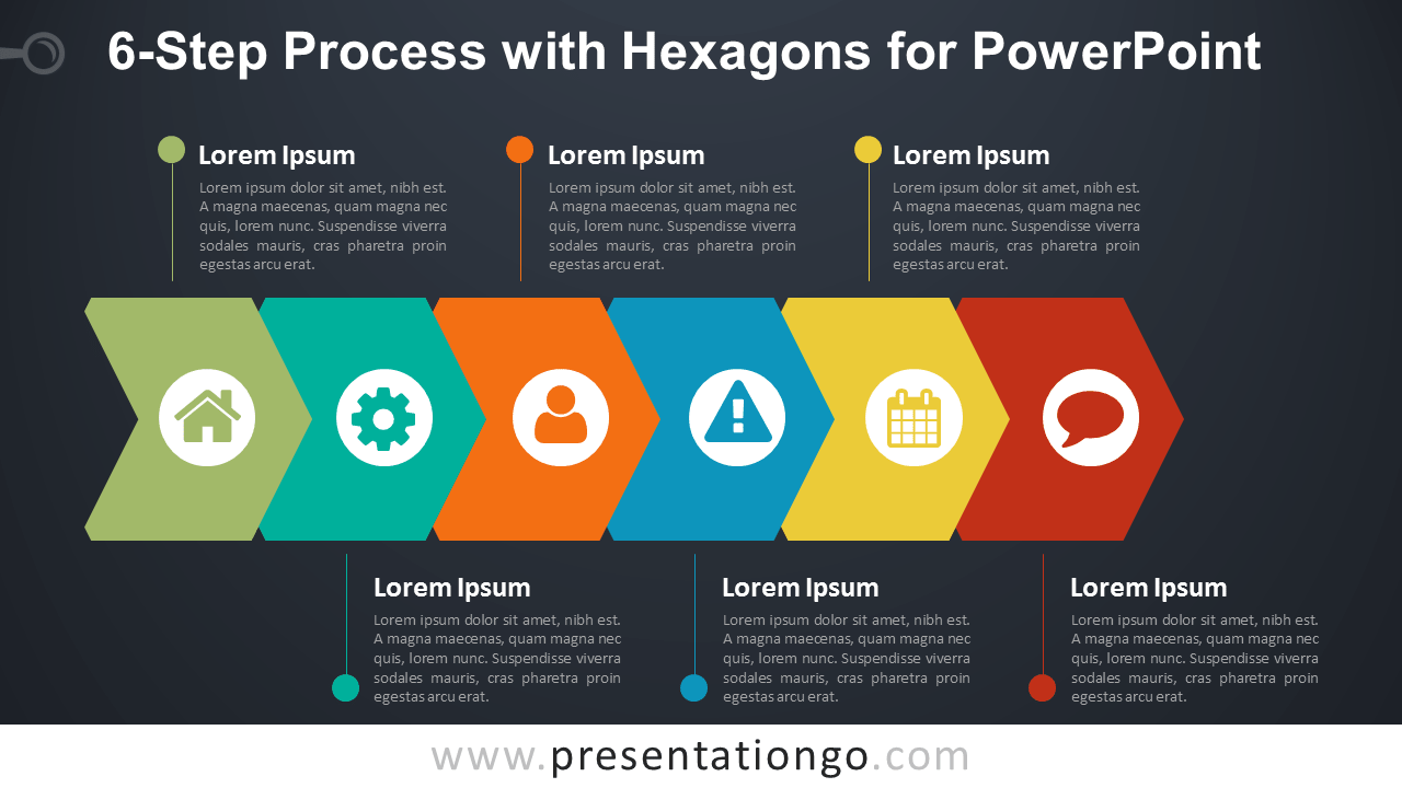 6-Step Process with Hexagons for PowerPoint - Dark Background