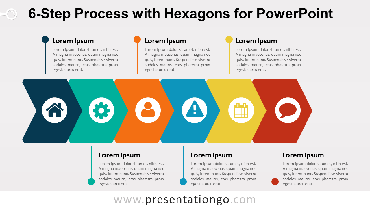 6 step process with hexagons for powerpoint. Black Bedroom Furniture Sets. Home Design Ideas