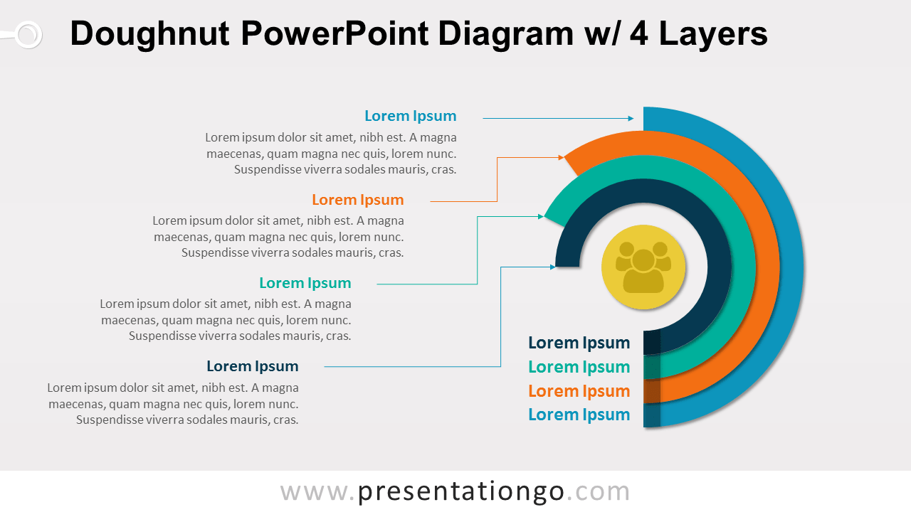 4 Layers Doughnut PowerPoint Diagram