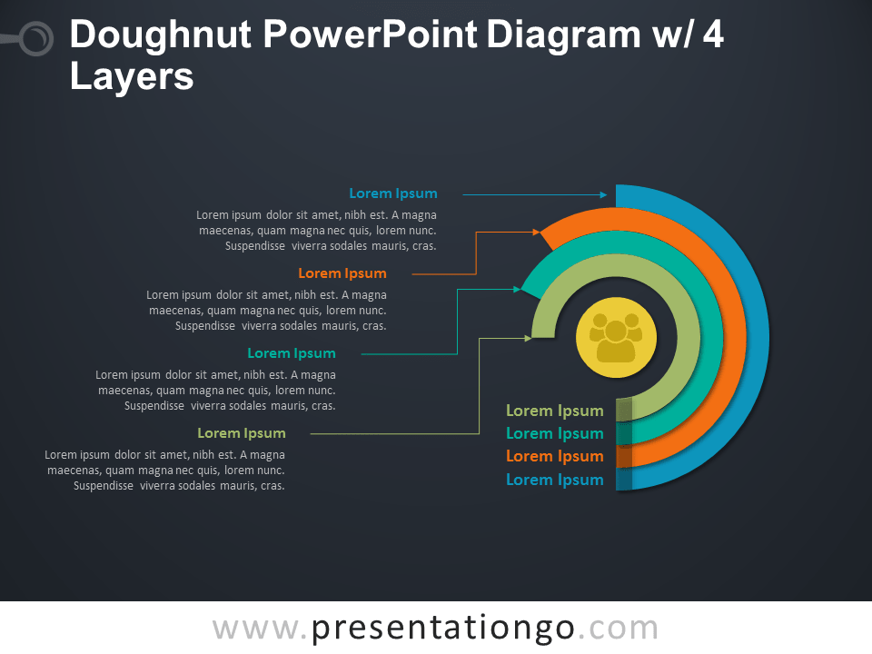 Doughnut PowerPoint Diagram with 4 Layers - Dark Background