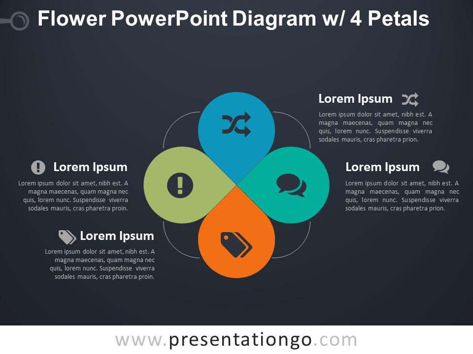 Flower Diagram with 4 Petals for PowerPoint - Dark Background