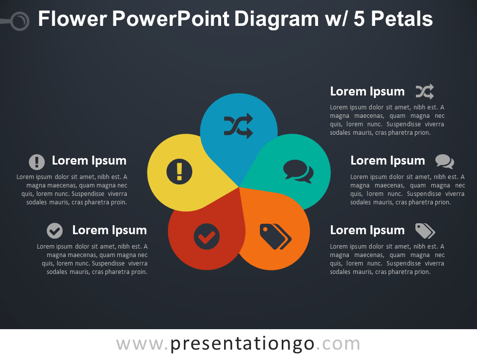 Flower Diagram with 5 Petals for PowerPoint - Dark Background