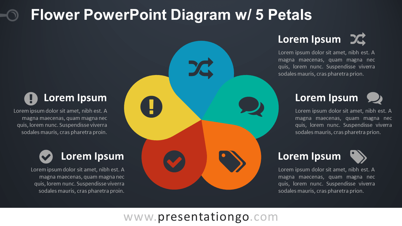 Flower Diagram with 5 Petals - PowerPoint Template - Dark Background