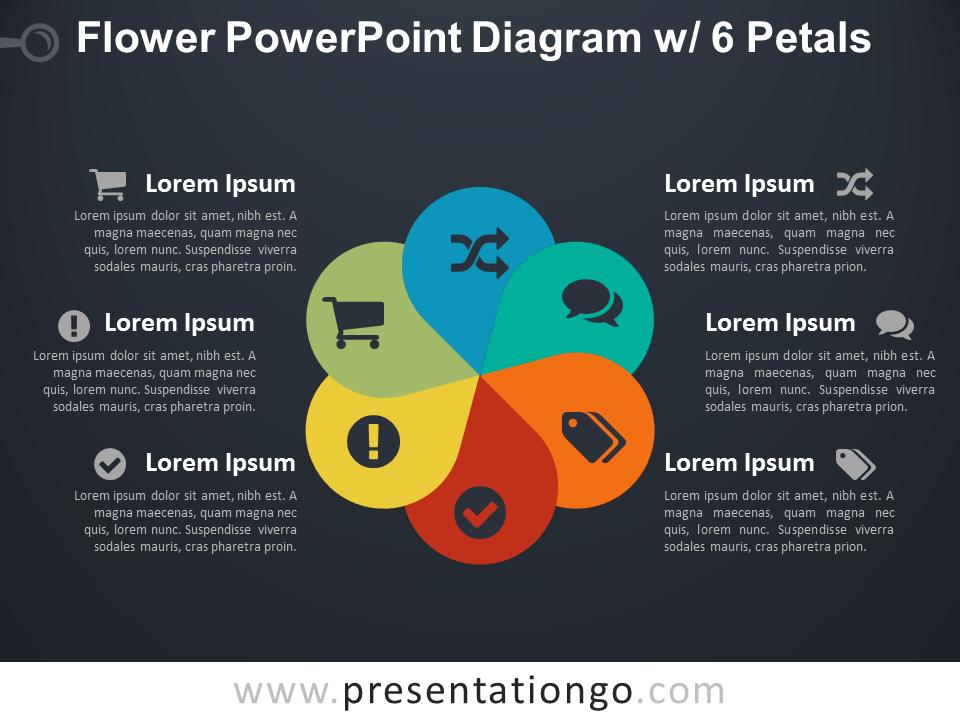 Flower Diagram with 6 Petals for PowerPoint - Dark Background