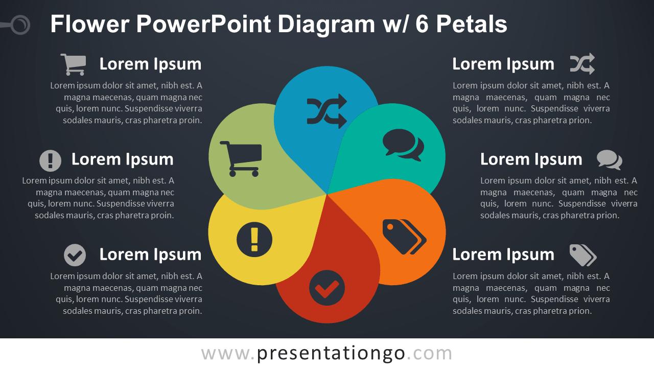 Flower Diagram with 6 Petals - PowerPoint Template - Dark Background