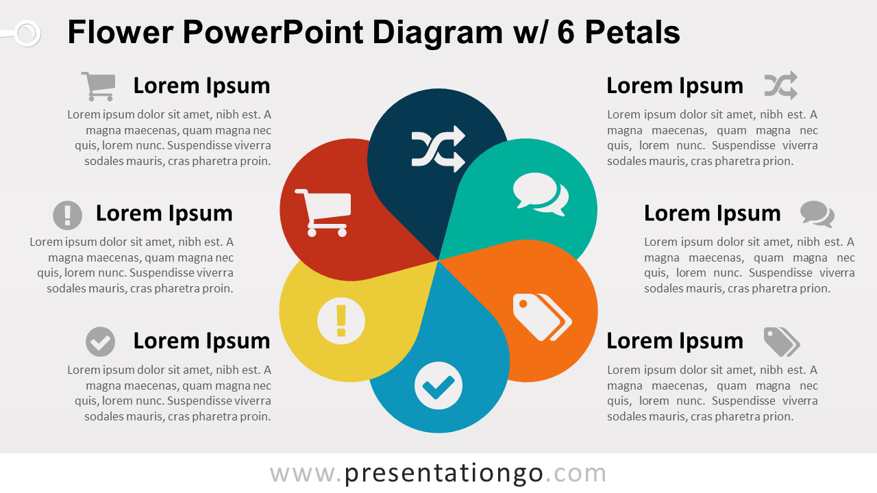 Flower Diagram with 6 Petals - PowerPoint Template