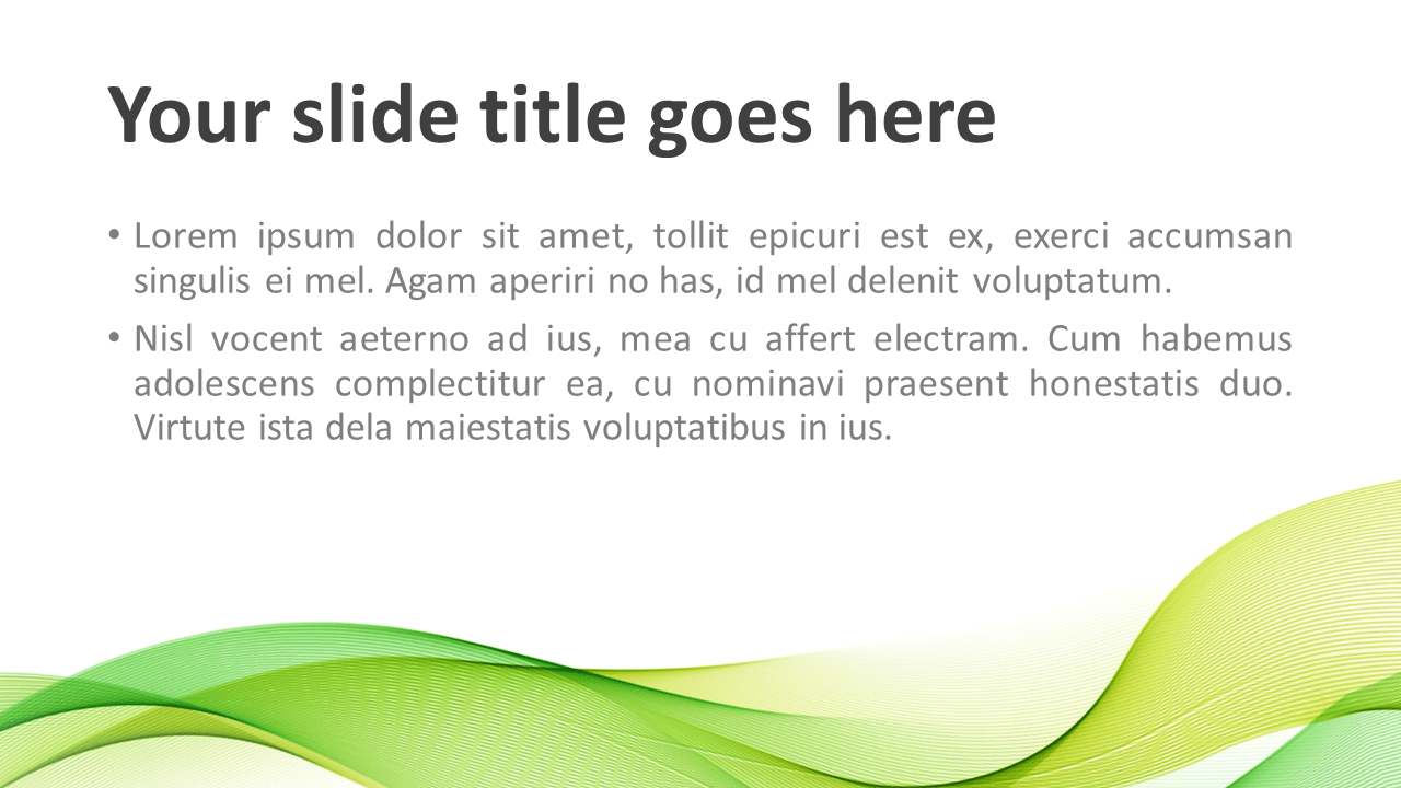 Modern Green Wave PowerPoint Template - Title and Content Slide