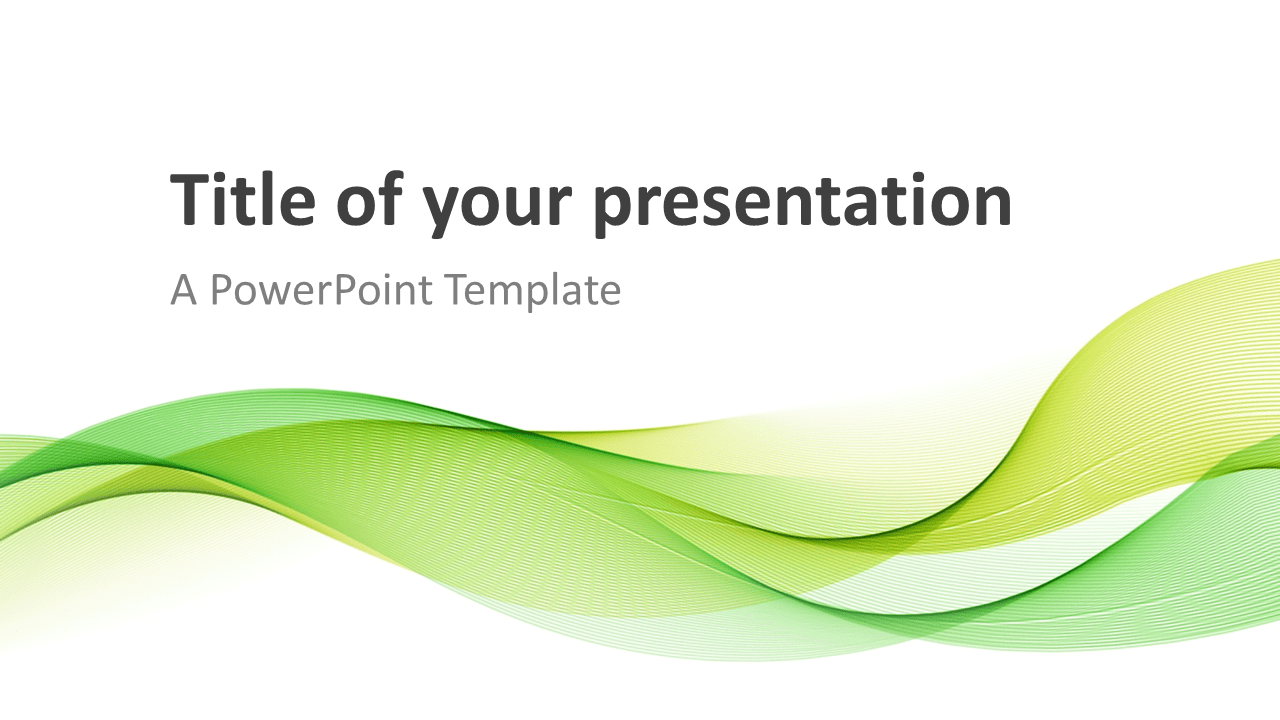 Modern Green Waves Powerpoint Template on Space Theme